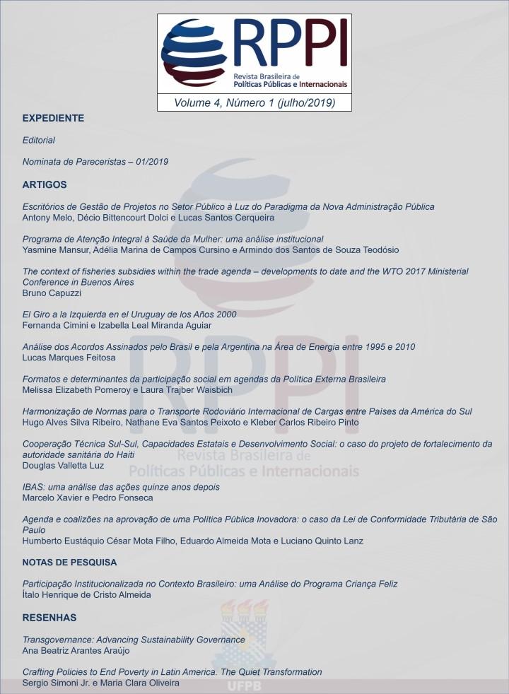 Visualizar v. 4 n. 1 (2019): Revista Brasileira de Políticas Públicas e Internacionais - RPPI